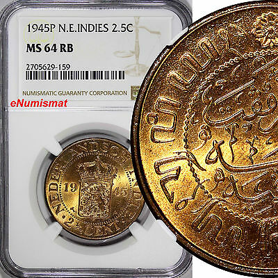 Netherlands East Indies Wilhelmina I Bronze 1945-P 2-1/2 Cents NGC MS64 RB KM316