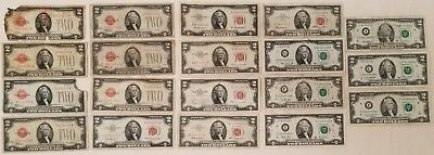 Near Complete set of $2 bills 1928 thru 2013 LOT OF 19 CIRCULATED 2 dollar notes