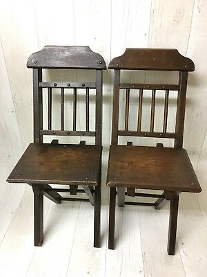 Superb Pair Of Antique Folding Children's Chairs
