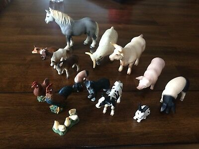 Schleich farm animals lot horse cow pig donkey rooster chicken goat dog fox