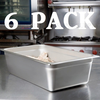 "6 PACK Full Size 6"" Deep Stainless Steel Steam Prep Table Food Pan NSF"