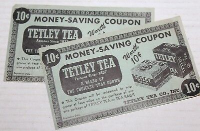 Vintage Tetley Tea Money Saving Coupon Advertisement Lot of 2
