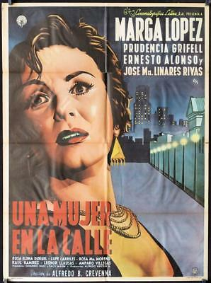 051 UNA MUJER EN LA CALLE Mexican poster '55  close up art of scared Marga Lopez