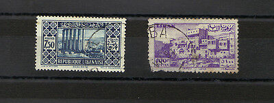 LEBANON 1930 Mi 180 & 1947 SG341 STAMPS AVERAGE USED ARCHITECTURE See Scans