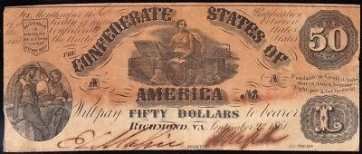 Affordable 1861 T-14 $50 CSA Confederate Note! FREE SHIPPING! 30506