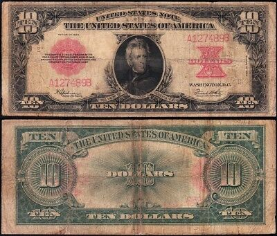 "Nice Circ *RARE* 1923 $10 ""POKERCHIP"" US Note! FREE SHIPPING! A127489B"