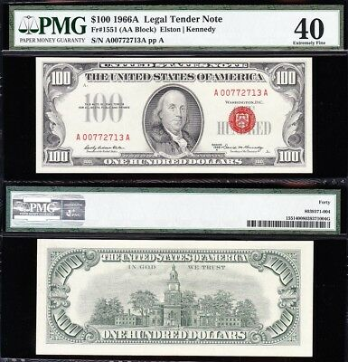 *SCARCE* HIGH GRADE 1966 A $100 RED SEAL US Note! PMG 40! FREE SHIP! A00772713A