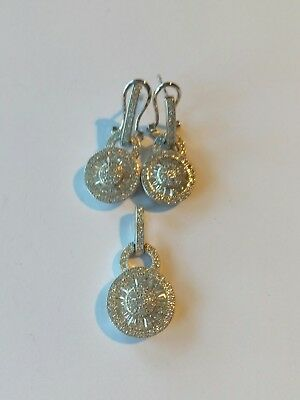 New Set Silver 925 Stamped Earrings & Ring Rhodium Plated Diamante