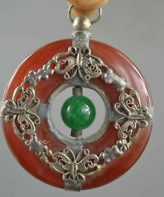 Collectible Handwork Miao Silver Carve Butterfly Inlay Jade Auspicious Pendant
