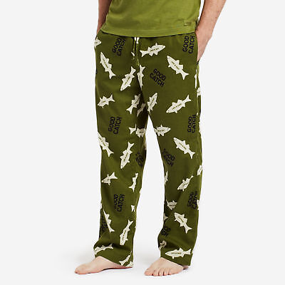 Life is Good: Mens Classic Sleep Pants: All Over Fish - Tree Green