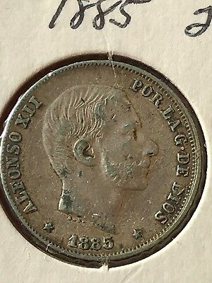 1885 Philipines 20 centavos Alfonso XII Very Fine Silver Coin