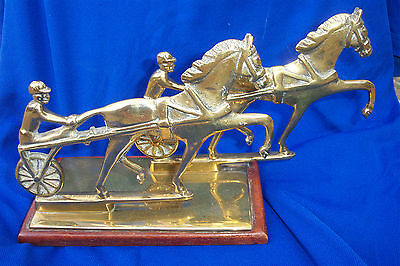 Fine Rare Solid Thick Brass & Wood Horse  Trotting Racing Trophy Letter Rack