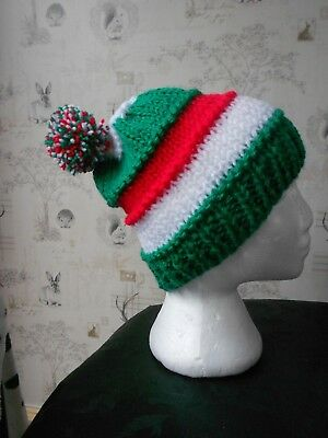 bobble hat Leicester tigers rugby colours green white red, welsh flag colours
