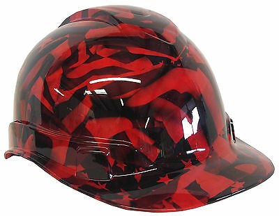 Hard Hat Red American Flag w/ Free BRB Customs T-Shirt