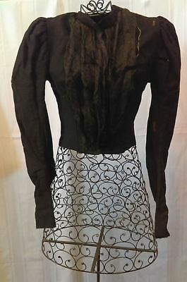 1890's Victorian Black Shirtwaist, Top, Silk panel & Tapered Sleeves