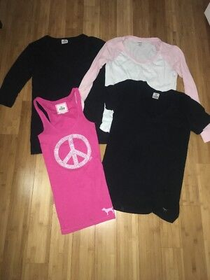 Lot Of 4 Victoria Secret PINK T Shirts Black, Pink, White Size Small