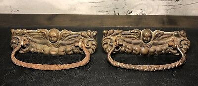 Lot of 2 Old Vintage Antique ANGEL CHERUB w/ WINGS Ornate Drawer Pulls