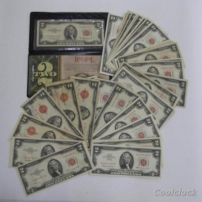 54 Pc Lot $2 United States Notes 2 Star Notes Old Used Circulated $108 FV #AD684