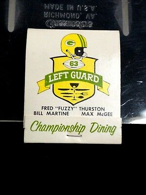 """Left Guard Supper Club Green Bay Packers Matchbook """"Fuzzy"""" Thurston Max McGee"""