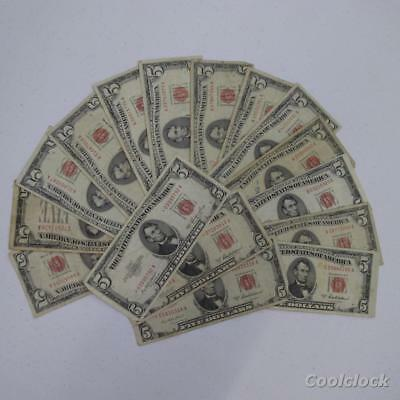 17 Pc Lot $5 United States Notes 3 Star Notes Old Used Circulated $85 FV #AD683