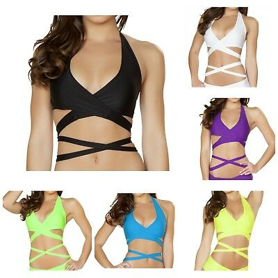Rave Wear Festival Wrap Tie Top (Various Colors) Made In Usa! Same Day Shipping