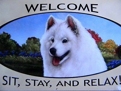 WELCOME SAMOYED Dog Breed Wood Sign Plaque NEW for Dog Rescue Shelter