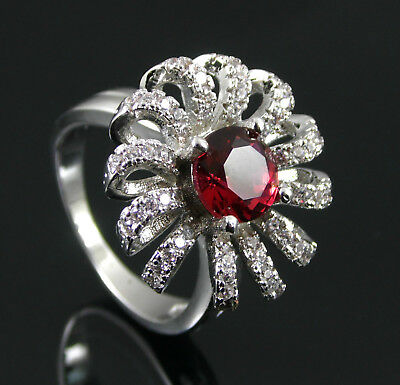 White Gold Plated Red Solitaire & Clear Cubic Zirconia Ring. Uk L1/2 Us 6 (X4)