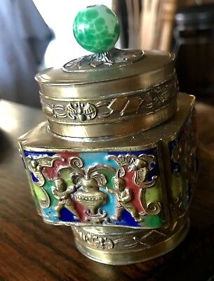 Antique Chinese Brass  and Enamel Tea Caddy With Green and White Finale