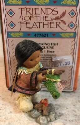 Rare Enesco Friends of the Feather Mini Indian Boy Cooking Fish MIB