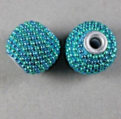 Turquoise & Mint Green Handmade Metal-Lined Charm Beads 14Mm Round (6)