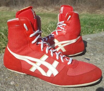 low priced 6a312 4c8eb RARE VINTAGE RED Asics Tiger Wrestling Shoes Size 9