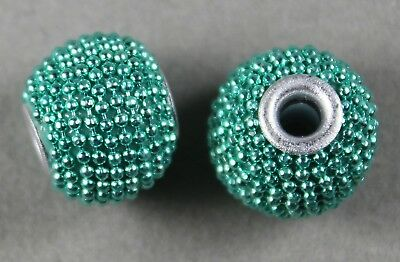 Mint Green Handmade Metal-Lined Charm Beads 12Mm Round (6)