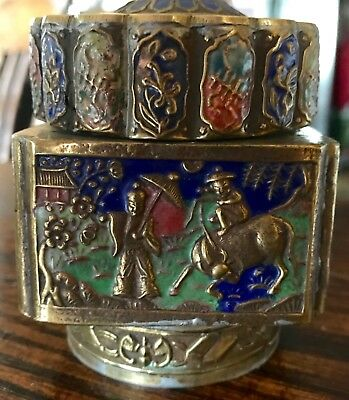 Antique Chinese Brass  and Enamel Tea Caddy With Cloisonne Medallion Lid