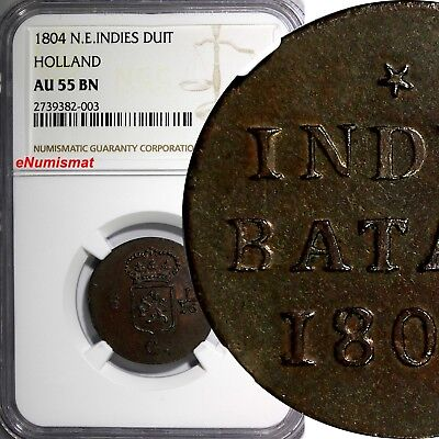 Netherlands East Indies HOLLAND 1804 1 Duit NGC AU55 BN TOP GRADED COIN KM# 76