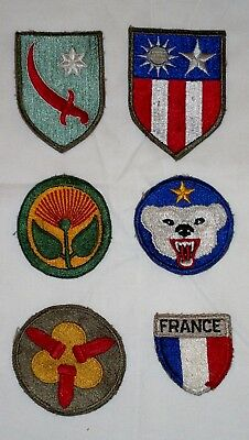6 WWII U.S. military patches, Alaskan, Persian Gulf commands & more.