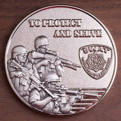 SWAT To Protect and Serve Shiny Nickel Assault Challenge Coin.