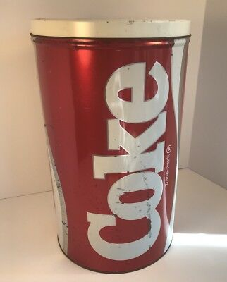 """Coca Cola Collectors Tin Large Soda Pop Classic Red Coke Can 13"""" Tall"""