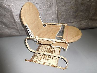 Early/Mid-Century Metal Child's Bouncy Exercise Seat Chair - Burlap Covered