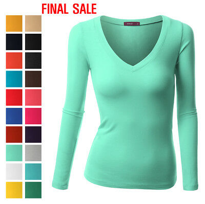[FINAL SALE]Doublju Womens Long Sleeve Basic Solid Fitted V-Neck T-Shirt