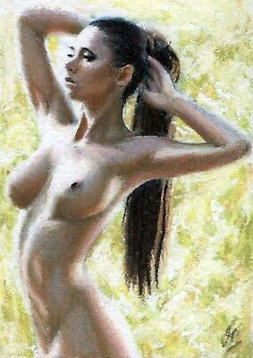 Original Sketch Card - Nude woman - ACEO - Pastel on paper - Female Figure