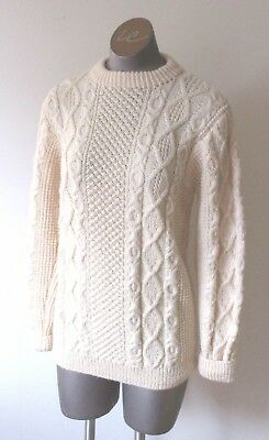 Vintage Cream Cable Pullover Hand Knit Sweater