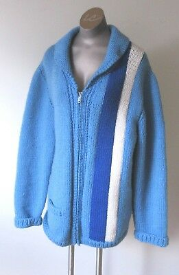 Unisex Vintage Very Heavy/Thick 70's Mary Maxim Striped Sweater (Cowichan) L/XL