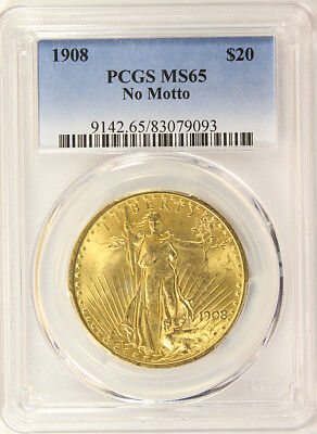 1908 Double Eagle, $20 Gold St. Gaudens PCGS MS 65  No Motto, Beautiful Luster