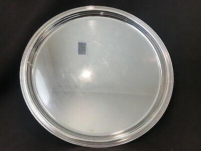 "Christofle Beaded 15 1/2"" Round Serving Platter Tray France SilverPlate Stunning"