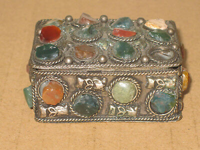 Antique Silver and Jade Trinket Box
