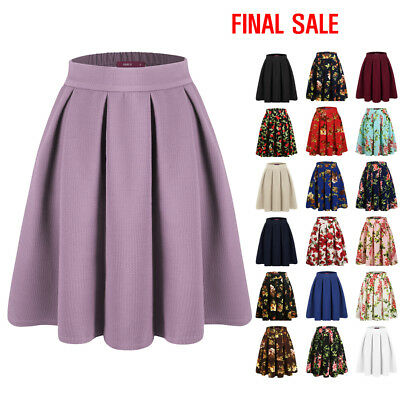 [FINAL SALE]Doublju Solid & Floral Printed Flare Pleated Skater Skirt
