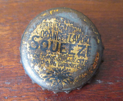 Vintage SQUEEZE Orange Soda Cork Bottle Cap, South Carolina Tax