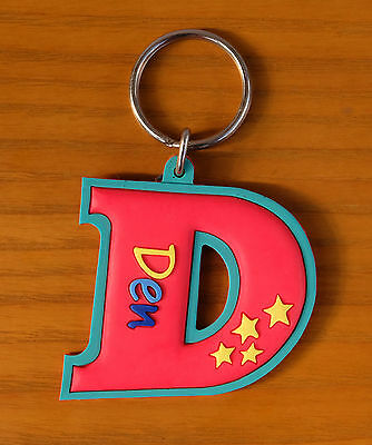 Rubber Name Key Fobs Key Rings LISA L Shape
