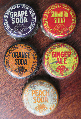 5 Cork Bottle Caps: Grape, Strawberry, Orange, Ginger Ale & Peach Soda, SC Tax