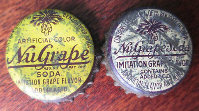 2 Vintage NuGRAPE Grape Soda Cork Bottle Caps, South Carolina Tax